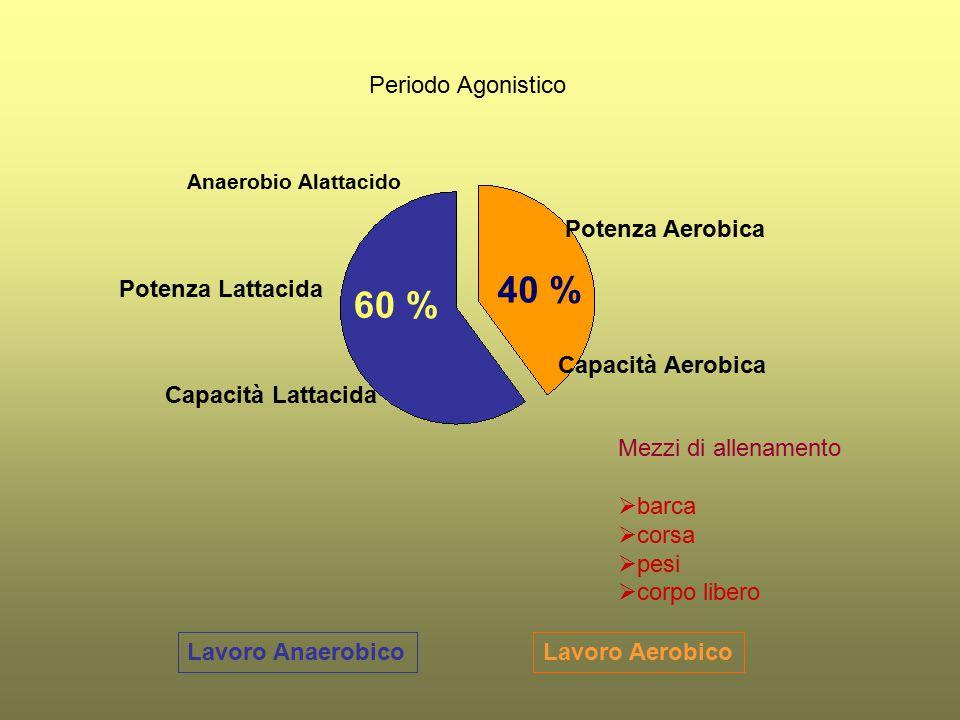 40 % 60 % Periodo Agonistico Potenza Aerobica Potenza Lattacida