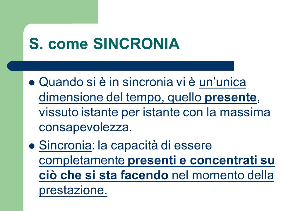 S. come SINCRONIA