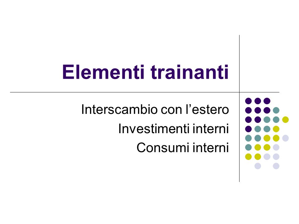 Interscambio con l'estero Investimenti interni Consumi interni