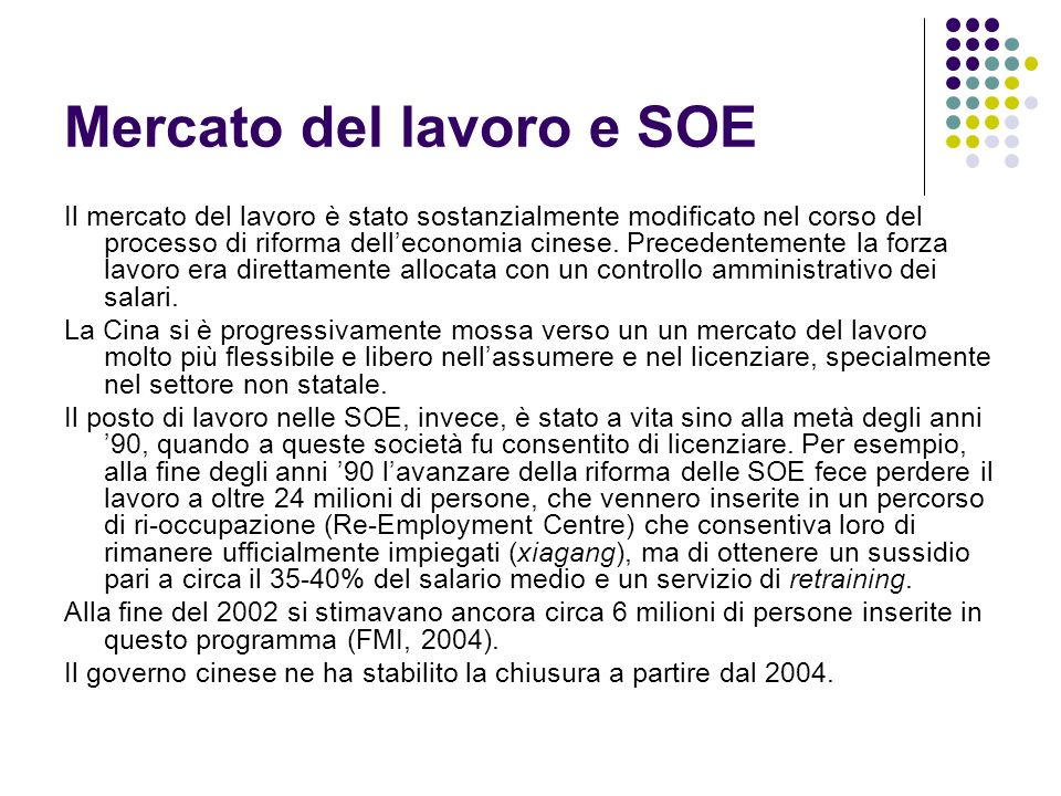 Mercato del lavoro e SOE