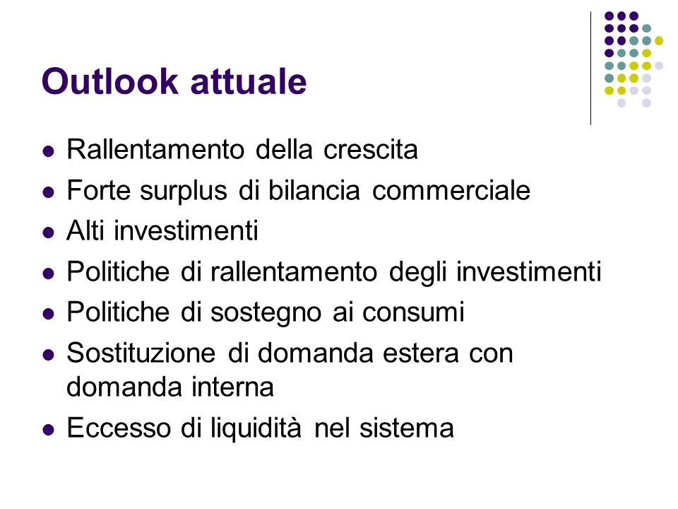 Outlook attuale Rallentamento della crescita