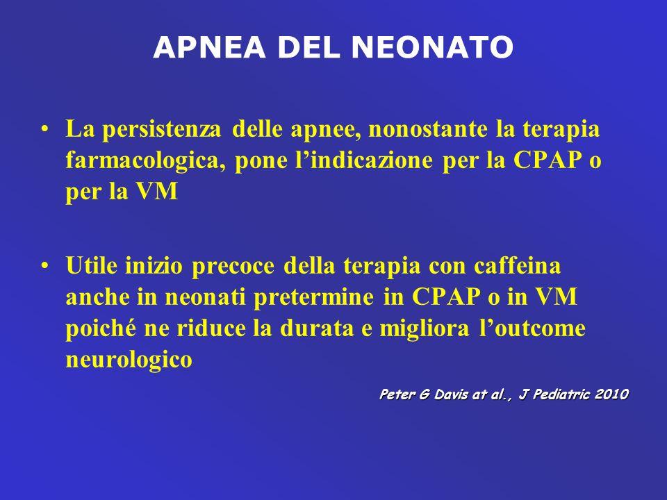 APNEA DEL NEONATO La persistenza delle apnee, nonostante la terapia farmacologica, pone l'indicazione per la CPAP o per la VM.