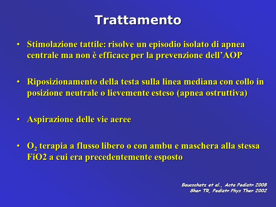 Trattamento Stimolazione tattile: risolve un episodio isolato di apnea centrale ma non è efficace per la prevenzione dell'AOP.