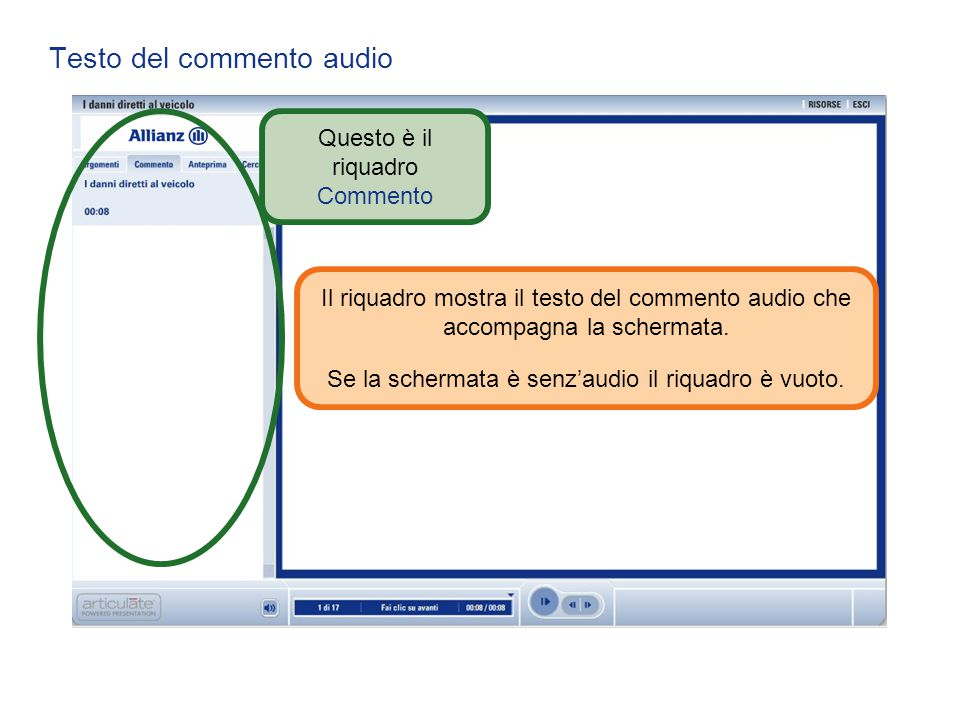 Testo del commento audio