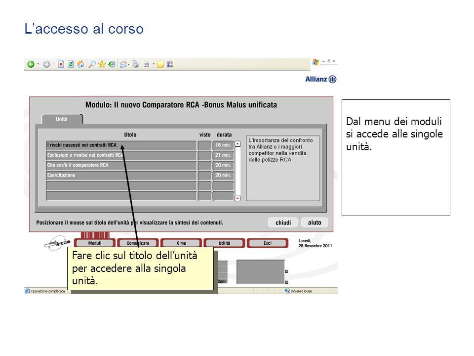 L'accesso al corso Dal menu dei moduli si accede alle singole unità.