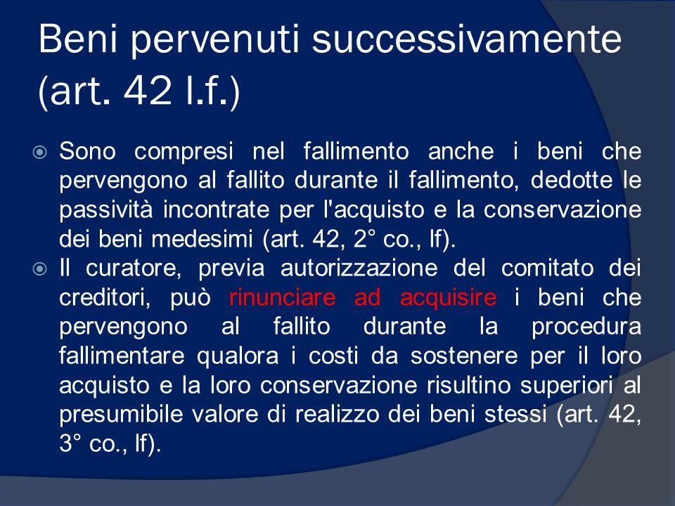 Beni pervenuti successivamente (art. 42 l.f.)