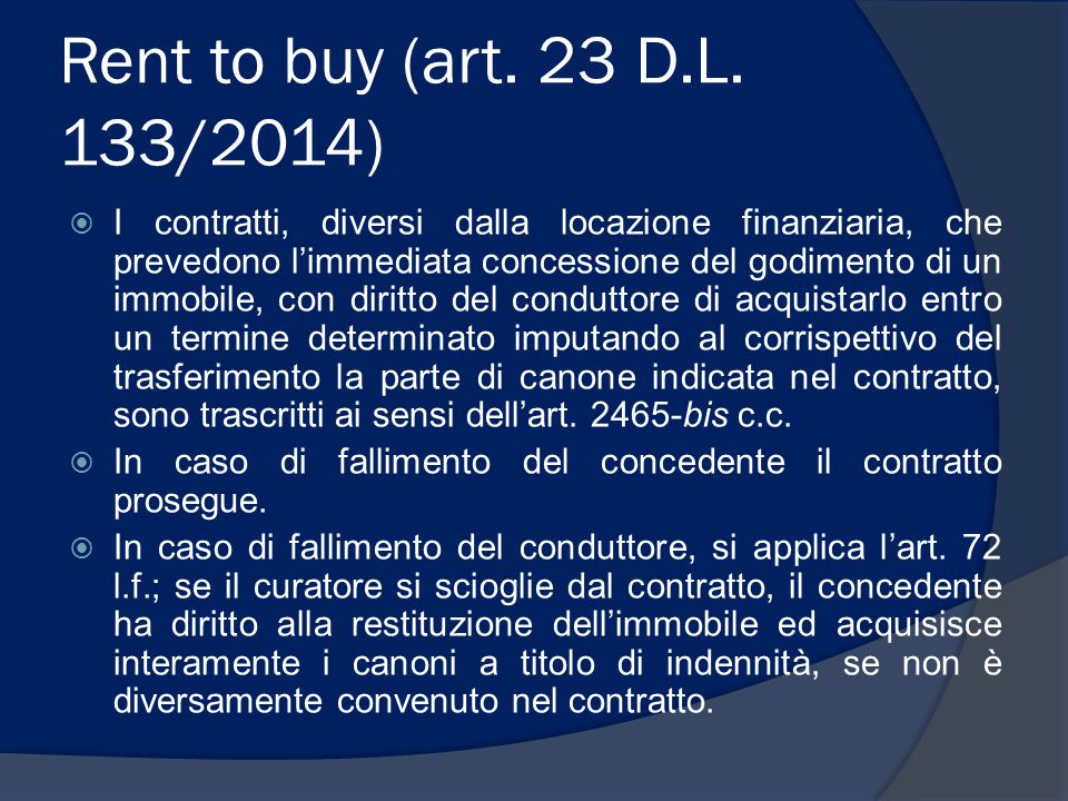 Rent to buy (art. 23 D.L. 133/2014)
