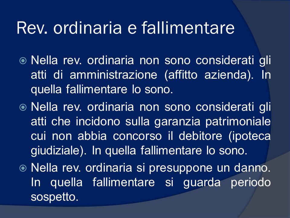 Rev. ordinaria e fallimentare