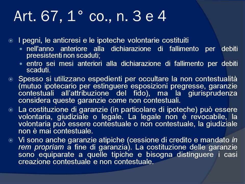 Art. 67, 1° co., n. 3 e 4 I pegni, le anticresi e le ipoteche volontarie costituiti.