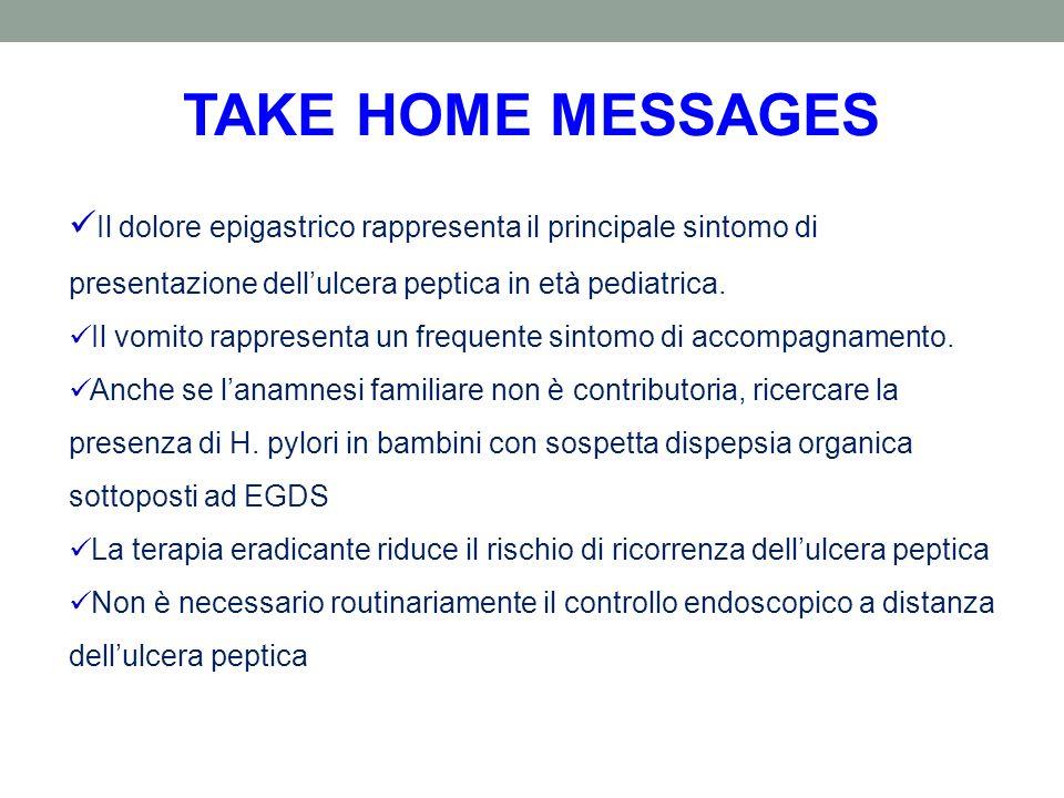 TAKE HOME MESSAGES Il dolore epigastrico rappresenta il principale sintomo di presentazione dell'ulcera peptica in età pediatrica.