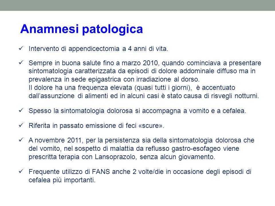Anamnesi patologica Intervento di appendicectomia a 4 anni di vita.