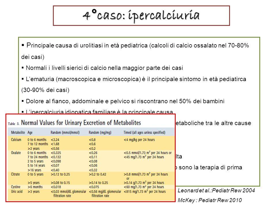 4°caso: ipercalciuria Principale causa di urolitiasi in età pediatrica (calcoli di calcio ossalato nel 70-80% dei casi)