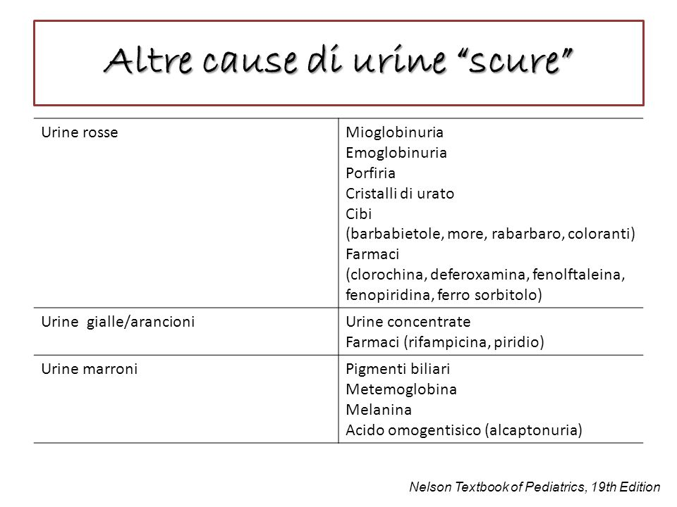 Altre cause di urine scure