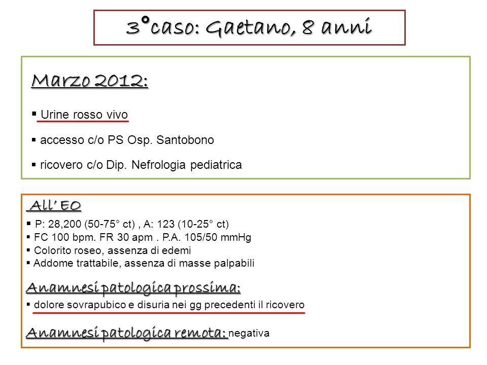 3°caso: Gaetano, 8 anni Marzo 2012: All' EO