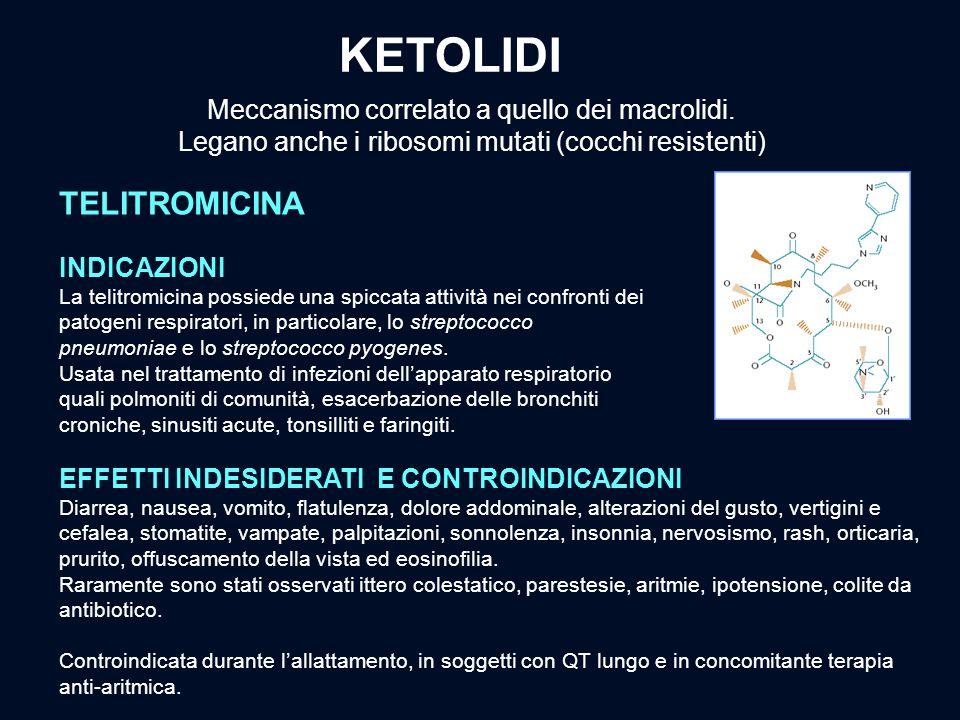 KETOLIDI Telitromicina Meccanismo correlato a quello dei macrolidi.