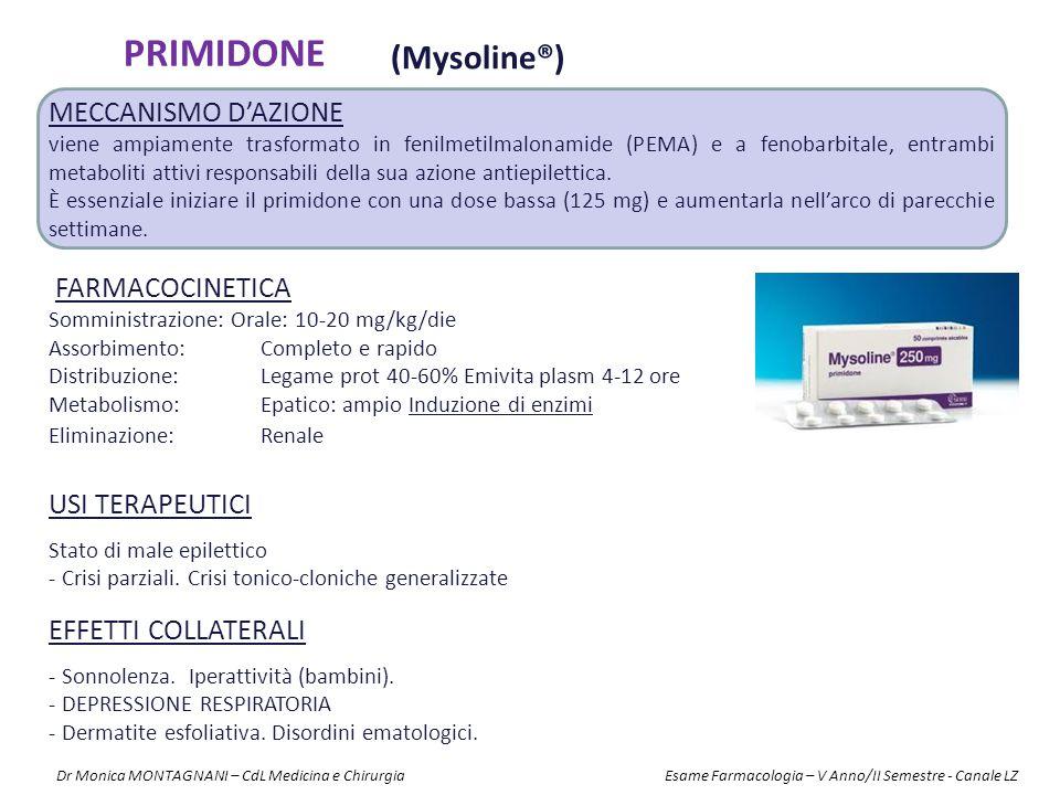 PRIMIDONE (Mysoline®) Meccanismo d'azione FARMACOCINETICA