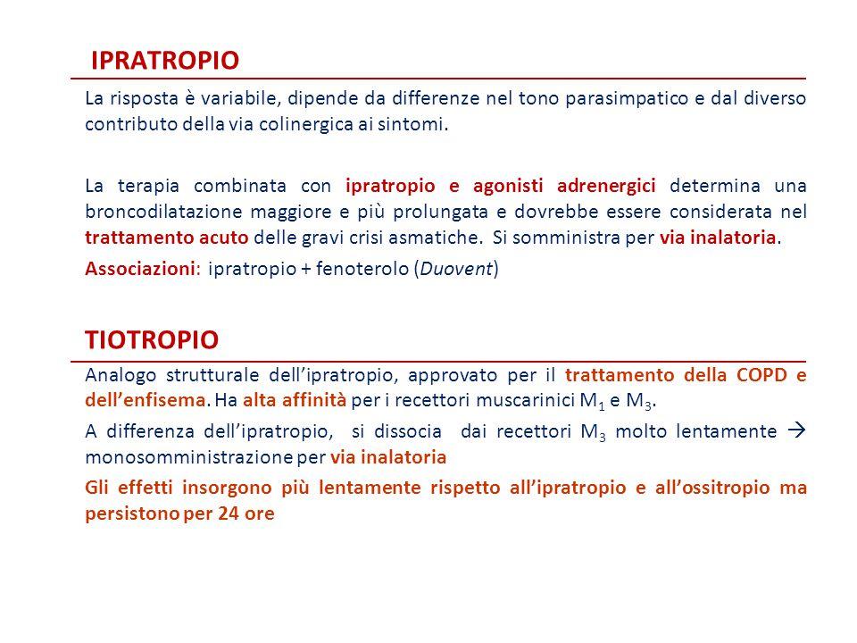 ipratropio La risposta è variabile, dipende da differenze nel tono parasimpatico e dal diverso contributo della via colinergica ai sintomi.