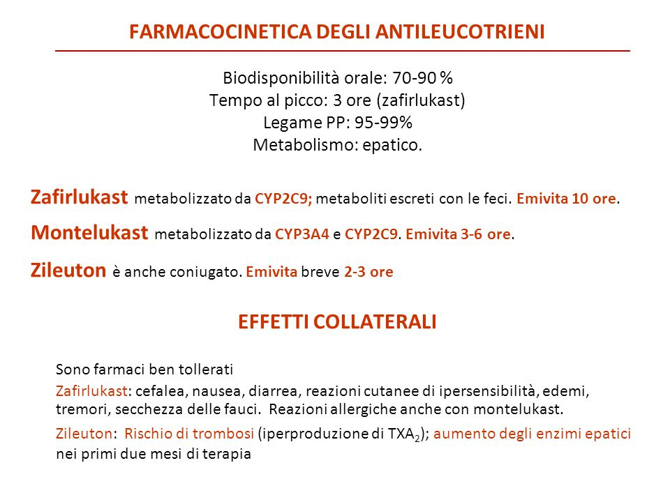 Farmacocinetica degli antileucotrieni