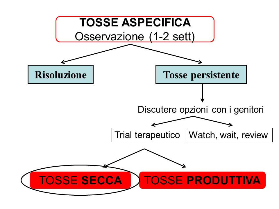 TOSSE ASPECIFICA Osservazione (1-2 sett) TOSSE SECCA TOSSE PRODUTTIVA