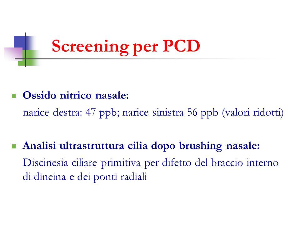 Screening per PCD Ossido nitrico nasale: