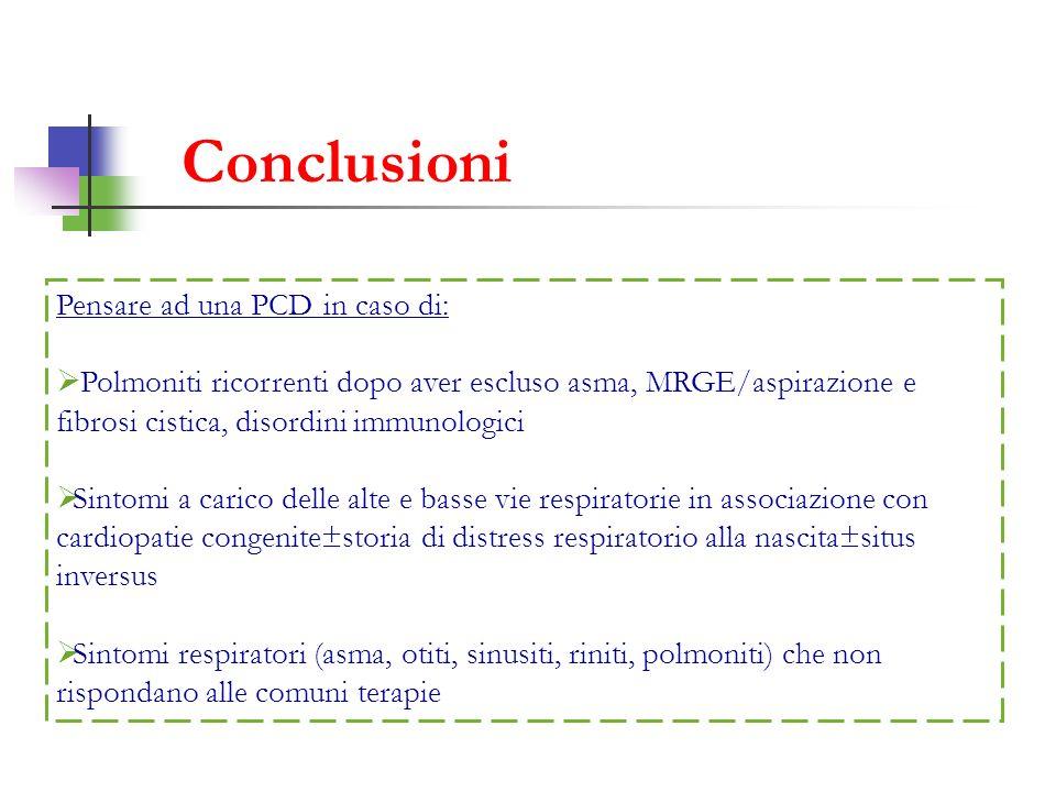 Conclusioni Pensare ad una PCD in caso di: