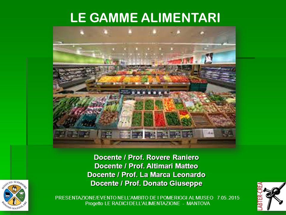 LE GAMME ALIMENTARI Docente / Prof. Rovere Raniero