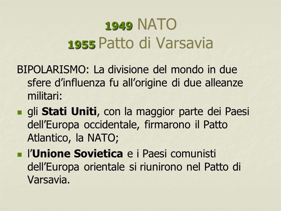 1949 NATO 1955 Patto di Varsavia BIPOLARISMO: La divisione del mondo in due sfere d'influenza fu all'origine di due alleanze militari: