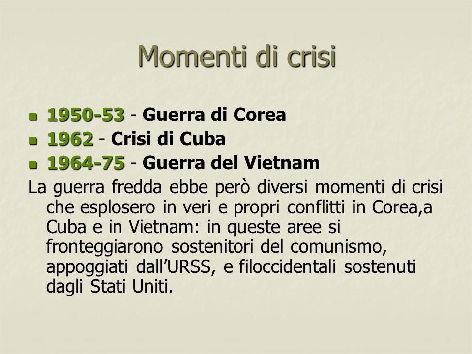 Momenti di crisi 1950-53 - Guerra di Corea 1962 - Crisi di Cuba