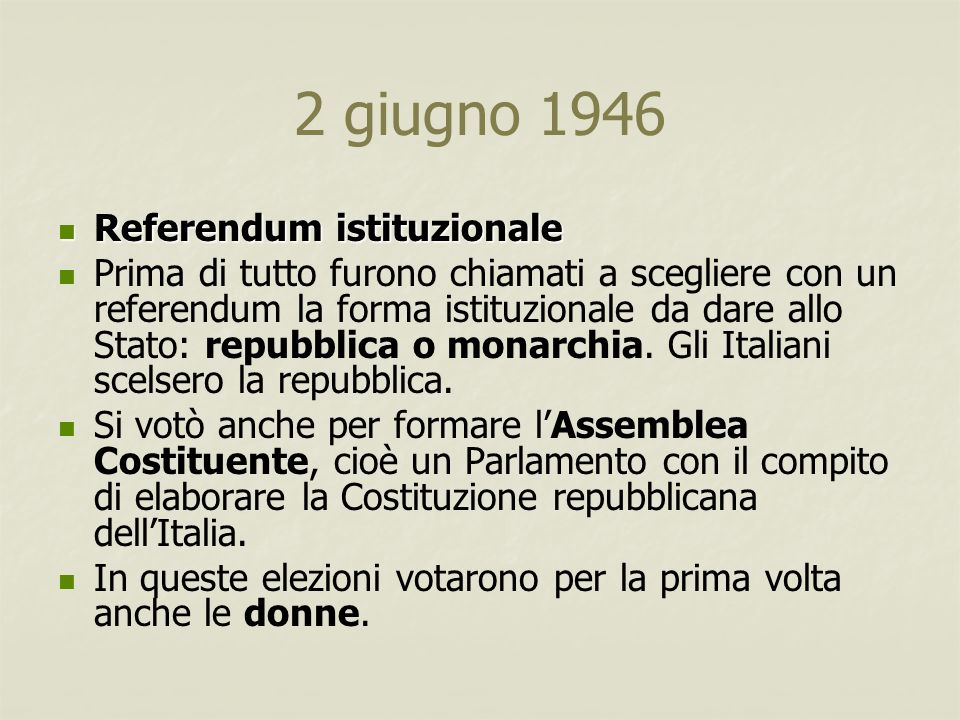 2 giugno 1946 Referendum istituzionale