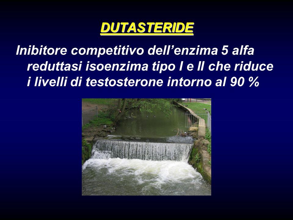 DUTASTERIDE Inibitore competitivo dell'enzima 5 alfa reduttasi isoenzima tipo I e II che riduce i livelli di testosterone intorno al 90 %
