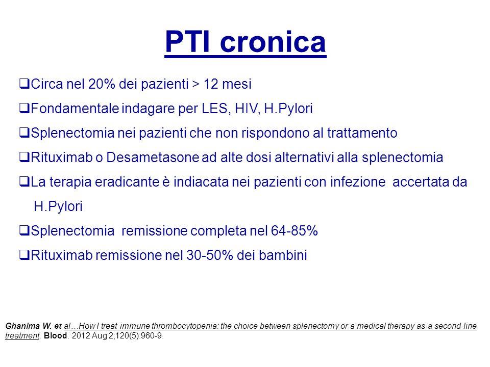 PTI cronica Circa nel 20% dei pazienti > 12 mesi