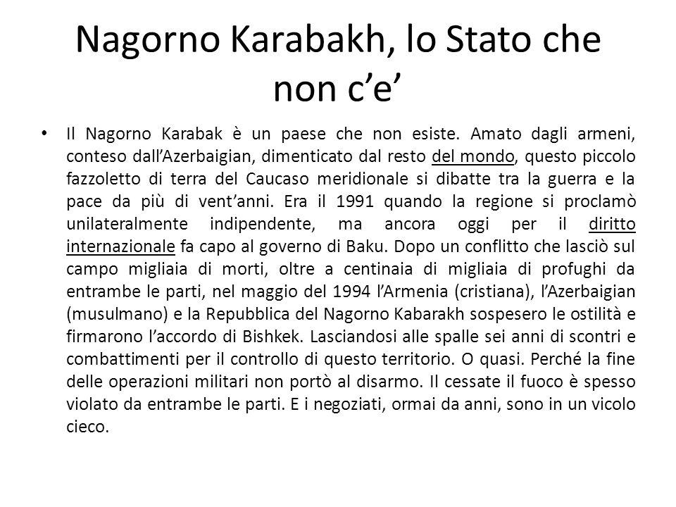 Nagorno Karabakh, lo Stato che non c'e'