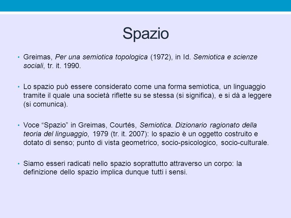 Spazio Greimas, Per una semiotica topologica (1972), in Id. Semiotica e scienze sociali, tr. it. 1990.