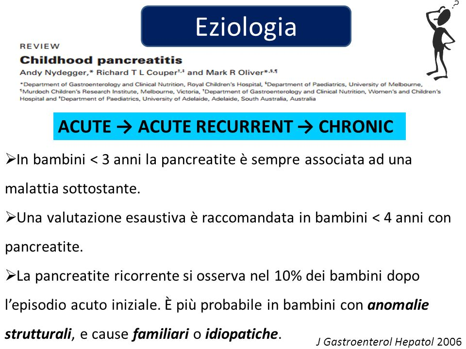 Eziologia ACUTE → ACUTE RECURRENT → CHRONIC