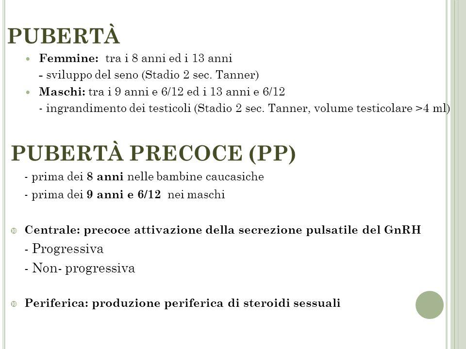 PUBERTÀ PUBERTÀ PRECOCE (PP) - Progressiva - Non- progressiva