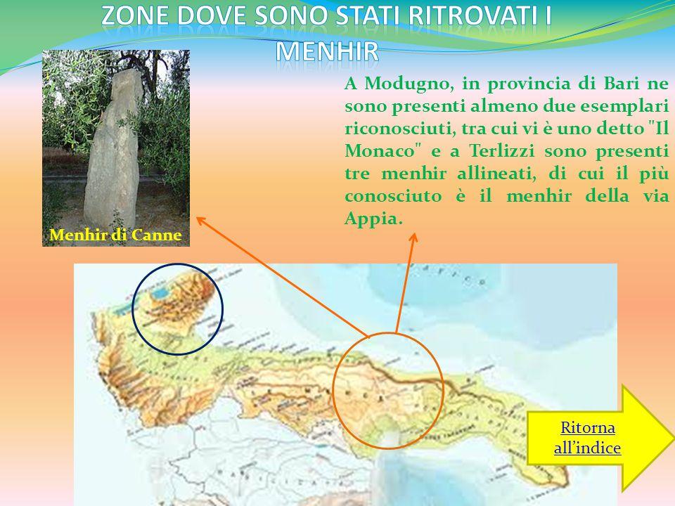 Zone dove sono stati ritrovati i menhir