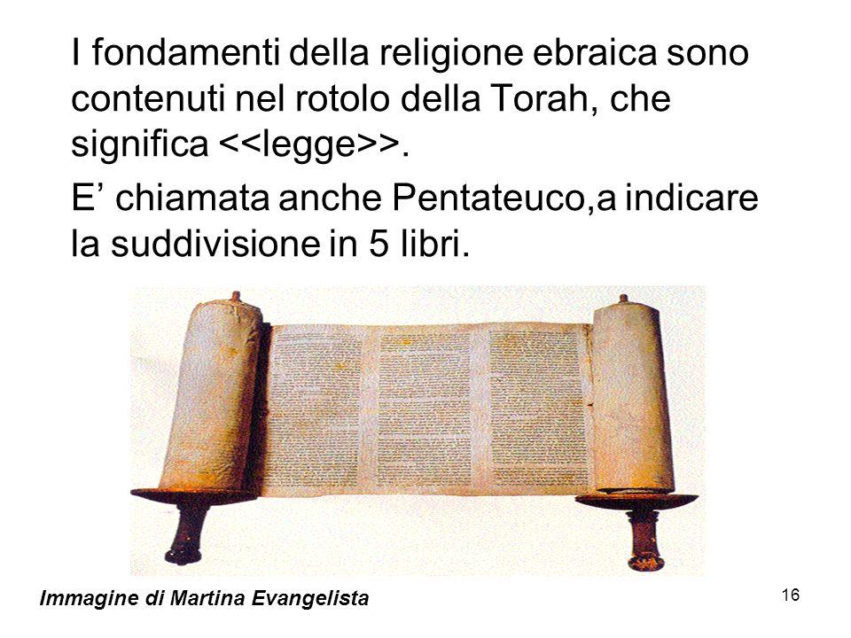 E' chiamata anche Pentateuco,a indicare la suddivisione in 5 libri.