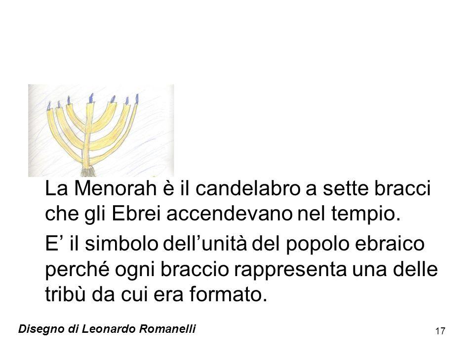La Menorah è il candelabro a sette bracci che gli Ebrei accendevano nel tempio.