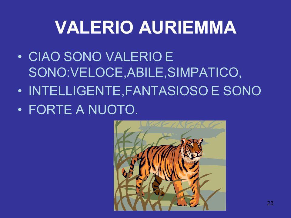VALERIO AURIEMMA CIAO SONO VALERIO E SONO:VELOCE,ABILE,SIMPATICO,