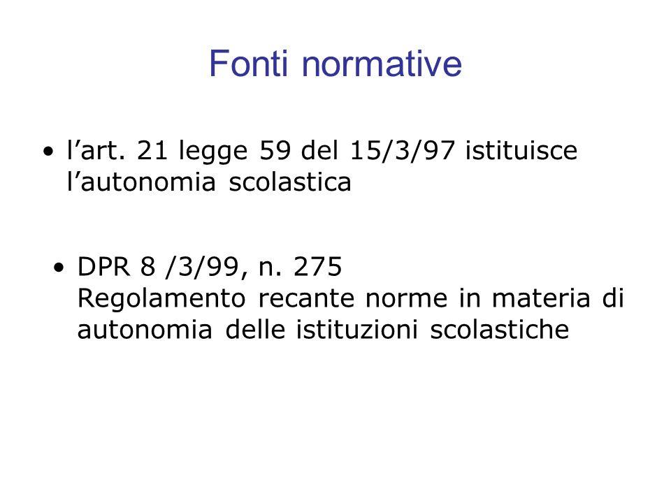 Fonti normativel'art. 21 legge 59 del 15/3/97 istituisce l'autonomia scolastica.