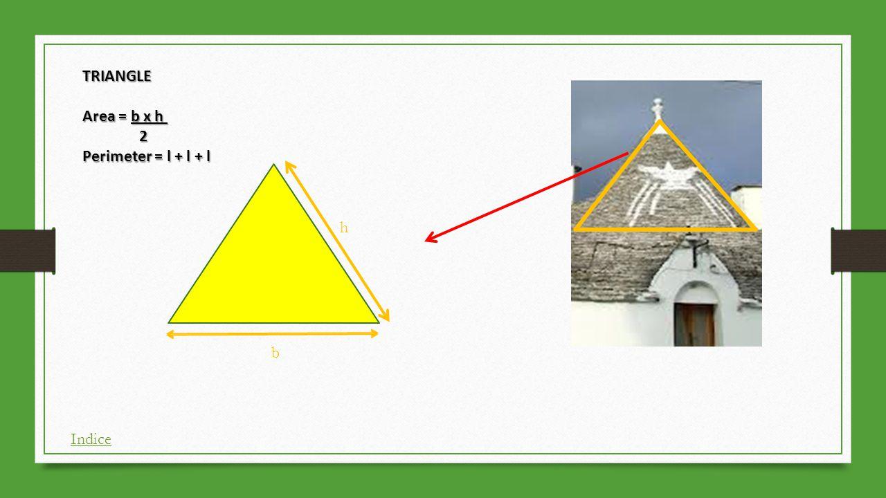 TRIANGLE Area = b x h 2 Perimeter = l + l + l h b Indice