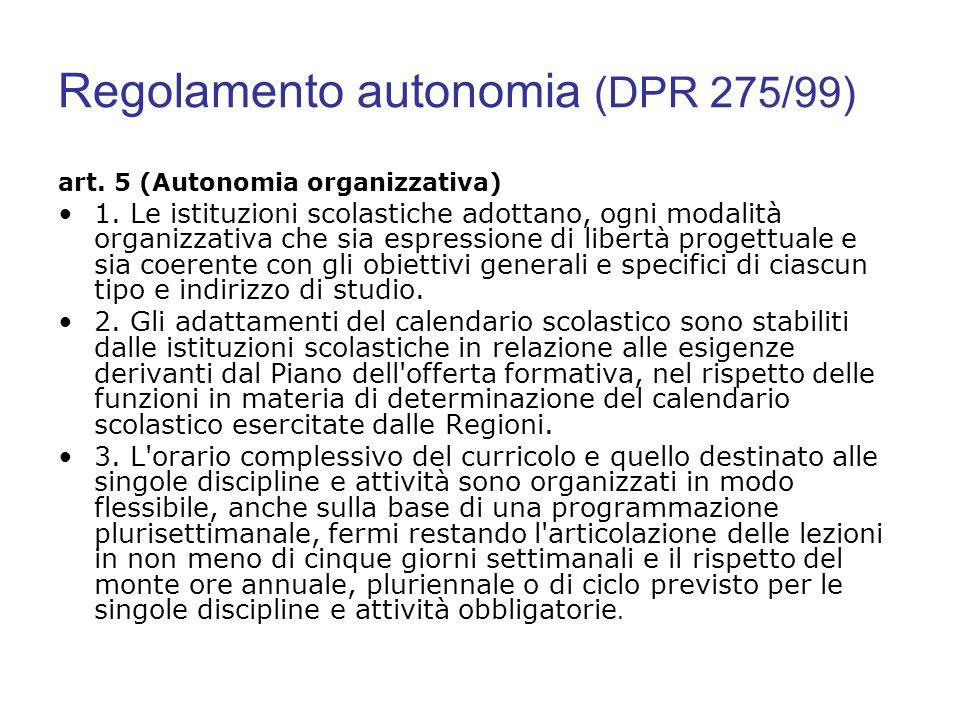 Regolamento autonomia (DPR 275/99)