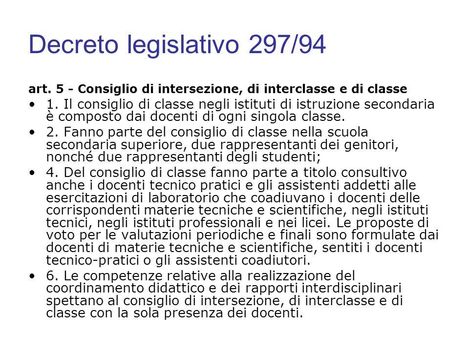 Decreto legislativo 297/94 art. 5 - Consiglio di intersezione, di interclasse e di classe.