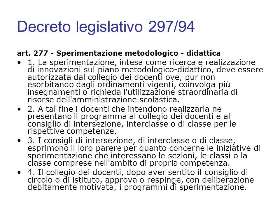 Decreto legislativo 297/94 art. 277 - Sperimentazione metodologico - didattica.