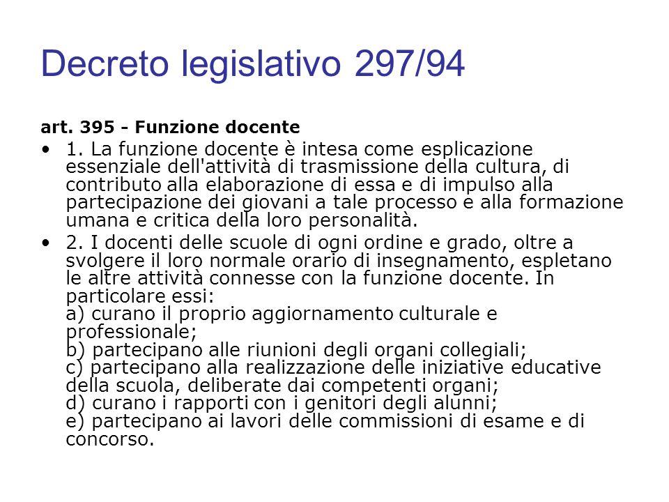 Decreto legislativo 297/94 art. 395 - Funzione docente.