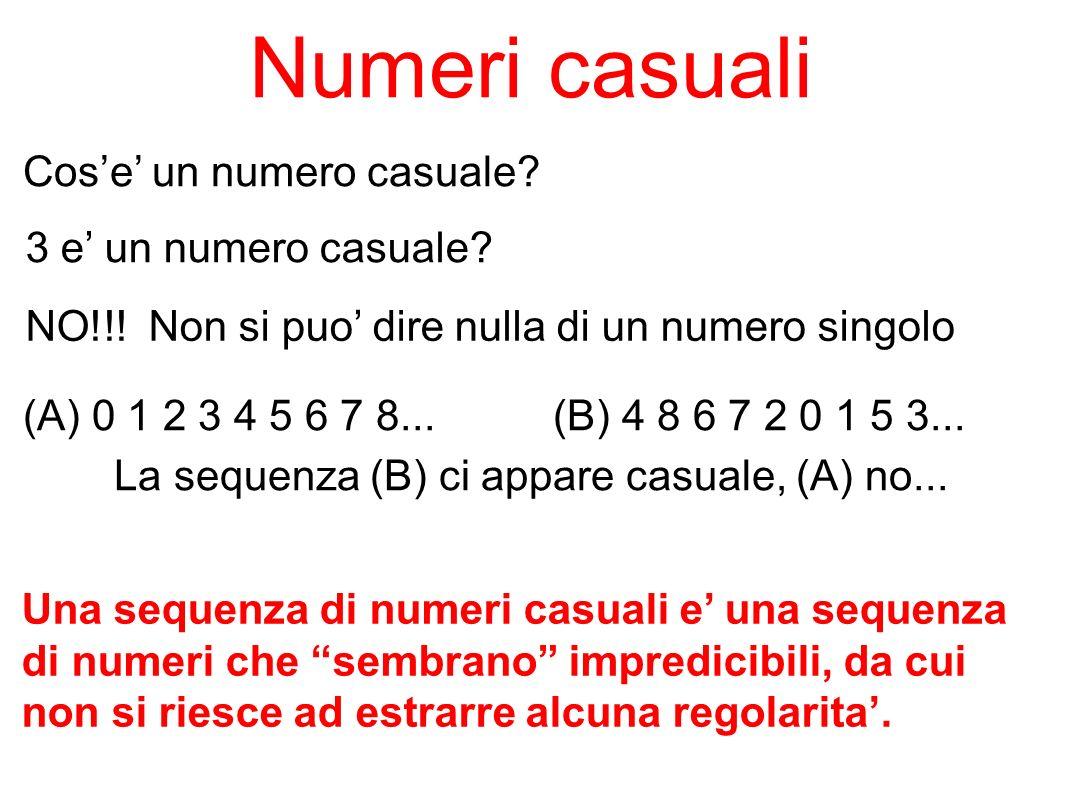 Numeri casuali Cos'e' un numero casuale 3 e' un numero casuale