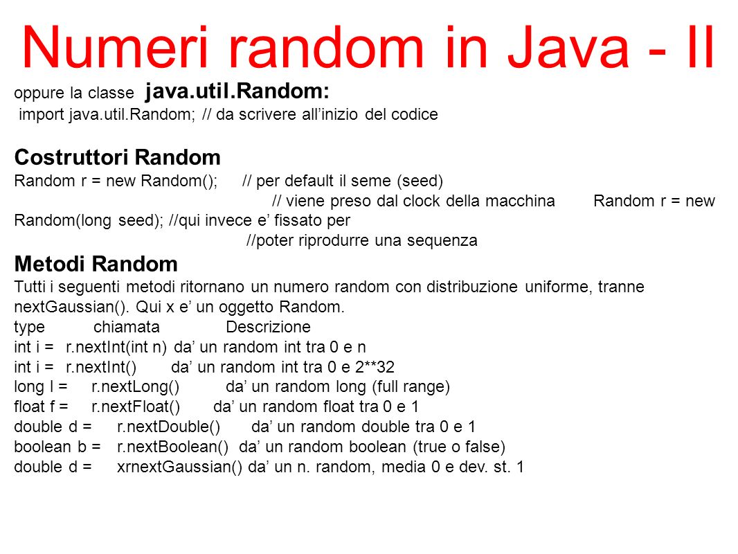 Numeri random in Java - II