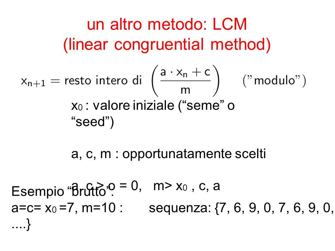 un altro metodo: LCM (linear congruential method)