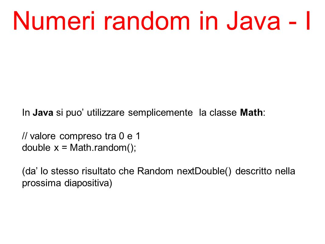 Numeri random in Java - I