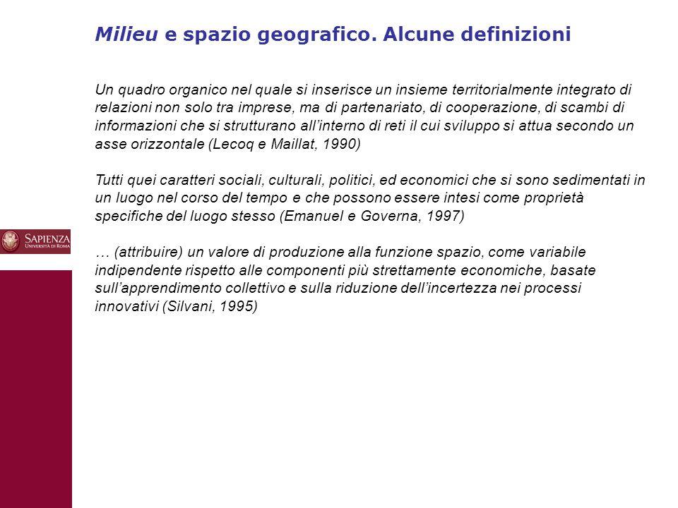 Milieu e spazio geografico. Alcune definizioni